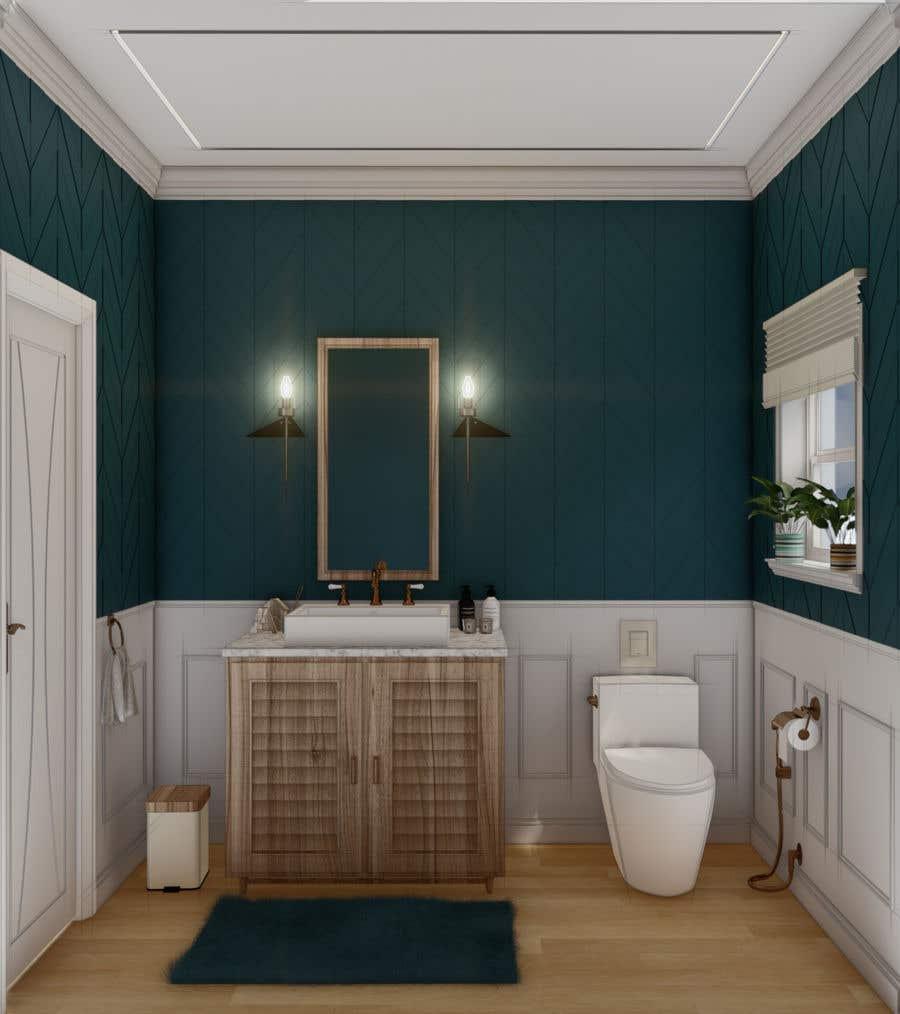 Bài tham dự cuộc thi #                                        28                                      cho                                         Half bath interior design in 3d - coastal transitional design style