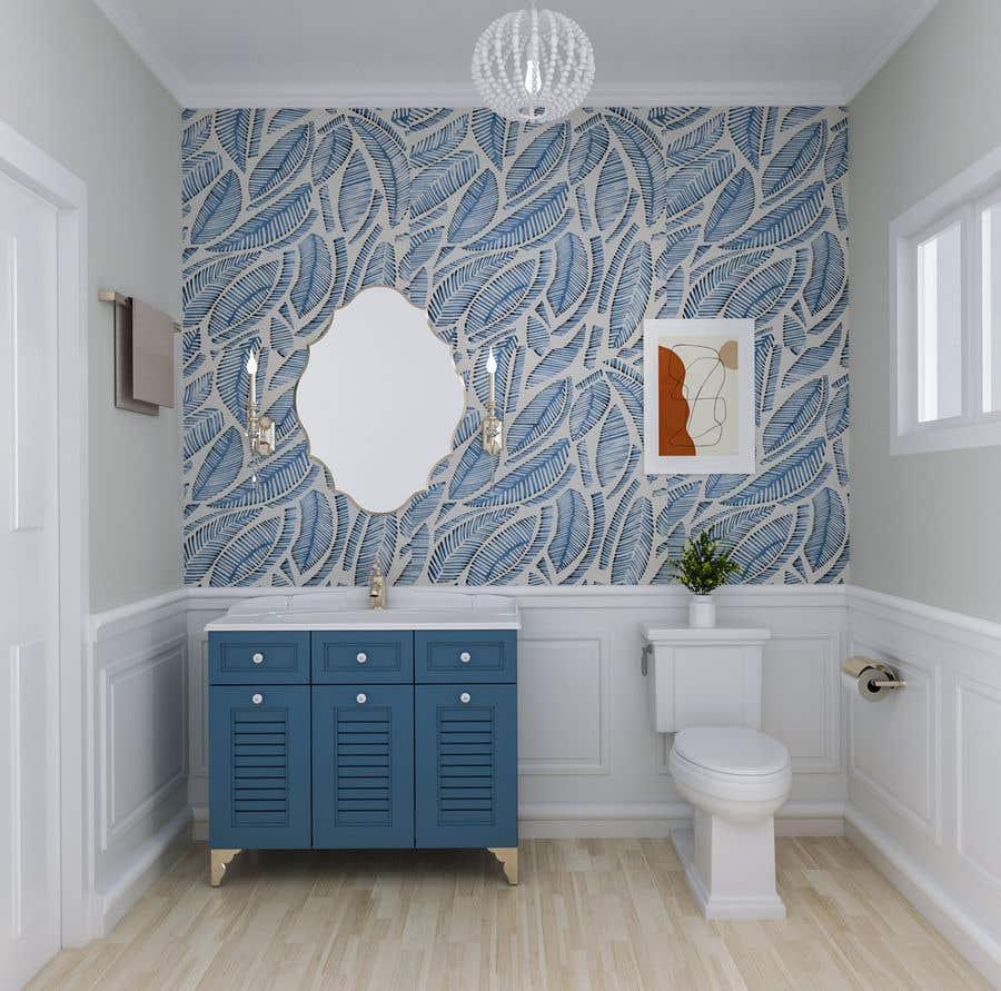 Bài tham dự cuộc thi #                                        39                                      cho                                         Half bath interior design in 3d - coastal transitional design style