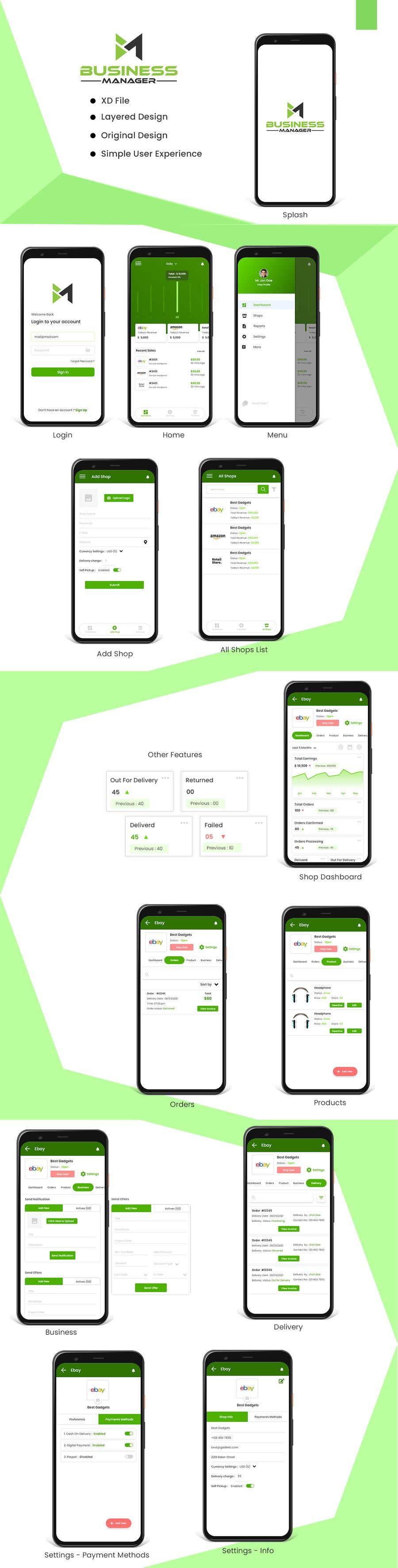 Kilpailutyö #                                        51                                      kilpailussa                                         UI & UX Custom Design for App (Business Manager ERP System)