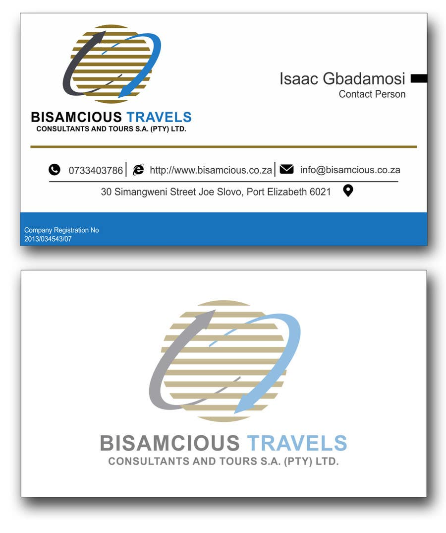 Contest Entry #                                        5                                      for                                         Design a letterhead and business cards for a travel consultantcy