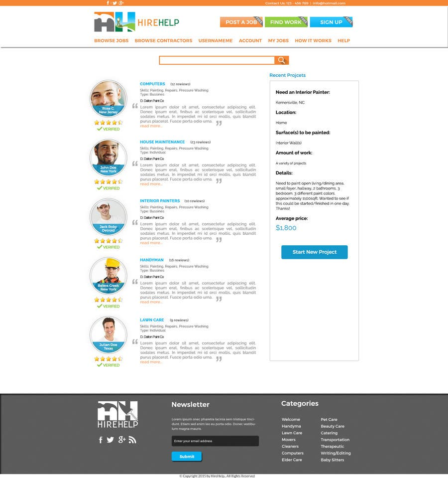 Konkurrenceindlæg #                                        17                                      for                                         Design a Website Mockup for HireHelp.com