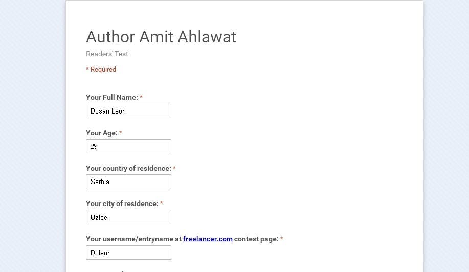 Contest Entry #                                        3                                      for                                         Author Amit Ahlawat Readership Test