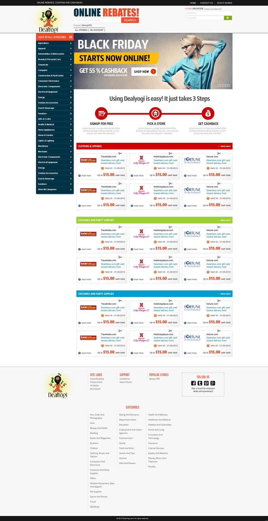Bài tham dự cuộc thi #10 cho Design a Website Mockup for Main Page of Deals Site