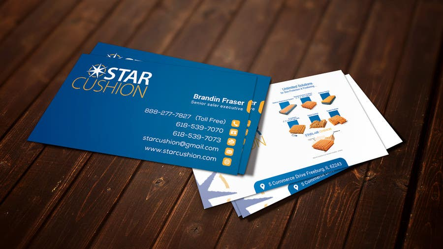 Contest Entry #                                        5                                      for                                         Design some Business Cards for Star Cushion