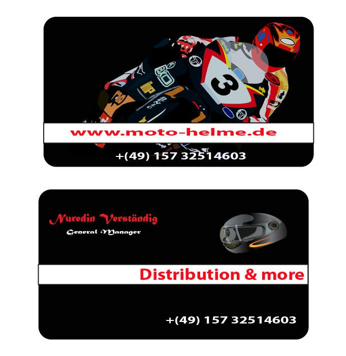 Konkurrenceindlæg #                                        1                                      for                                         DESIGN Of a Business Card for an Motorcycle helmet distribution company