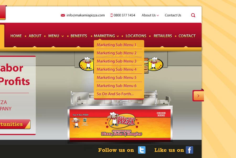Inscrição nº 8 do Concurso para Design a Website Mockup for Maka Mia Pizza Franchise