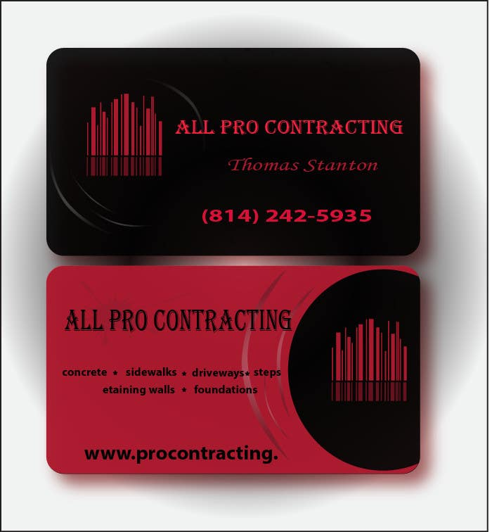 Konkurrenceindlæg #                                        24                                      for                                         Design some Business Cards for All Pro Contracting
