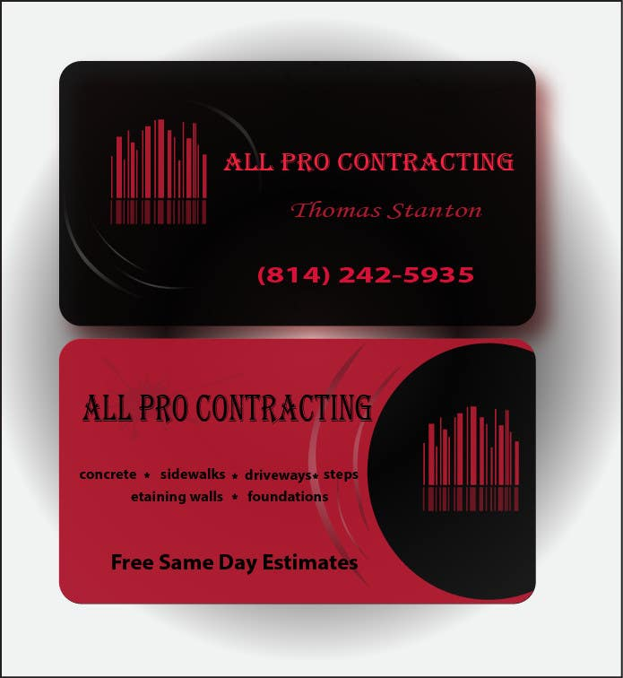 Konkurrenceindlæg #                                        31                                      for                                         Design some Business Cards for All Pro Contracting