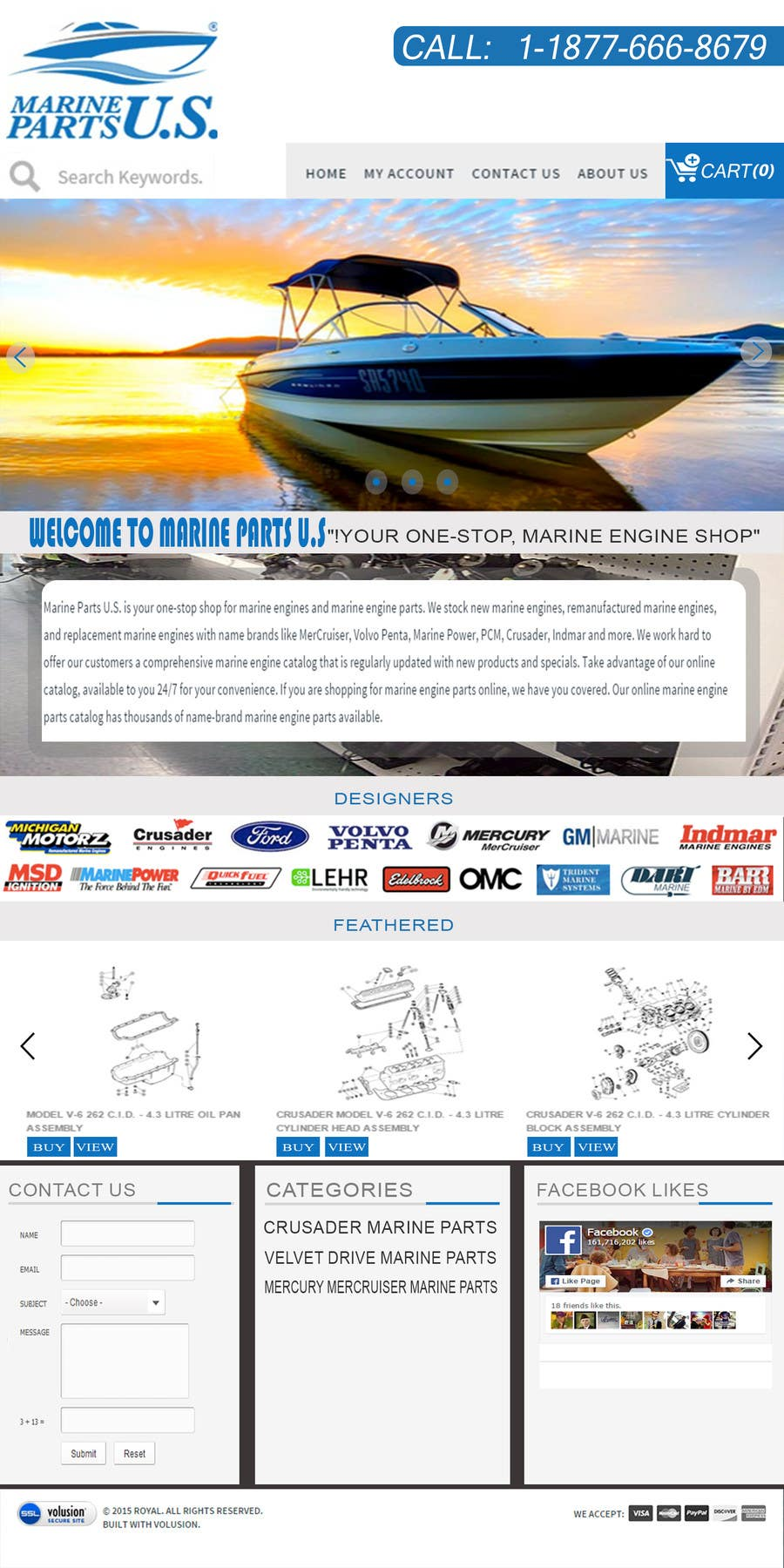 Konkurrenceindlæg #5 for Design a Website Mockup for Marine Parts U.S.