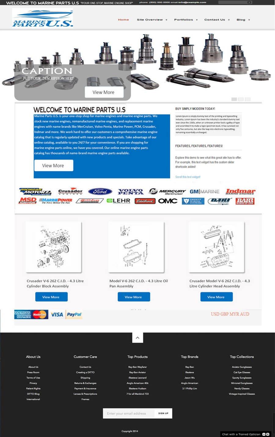 Contest Entry #                                        10                                      for                                         Design a Website Mockup for Marine Parts U.S.