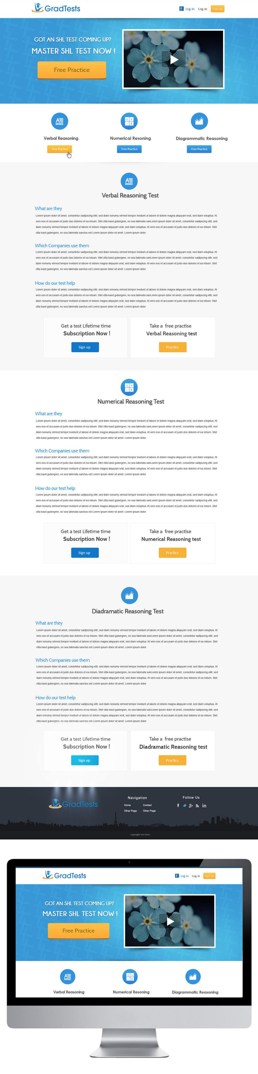 Inscrição nº                                         34                                      do Concurso para                                         Design a Website Mockup for Practice IQ Test Business