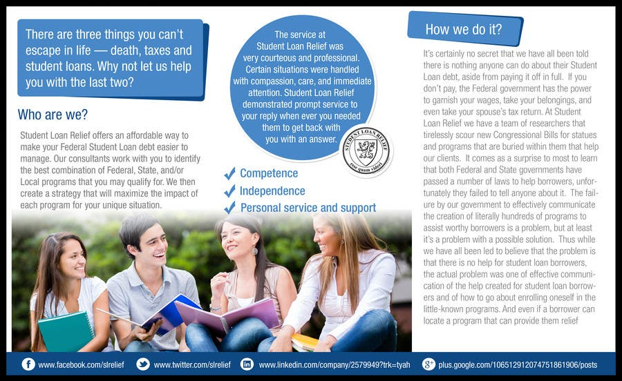 Bài tham dự cuộc thi #                                        24                                      cho                                         Create a Brochure Student Loan Relief, Inc