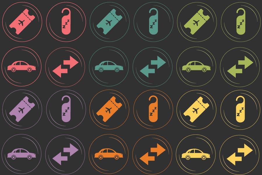 Kilpailutyö #28 kilpailussa Design Icons for travel website