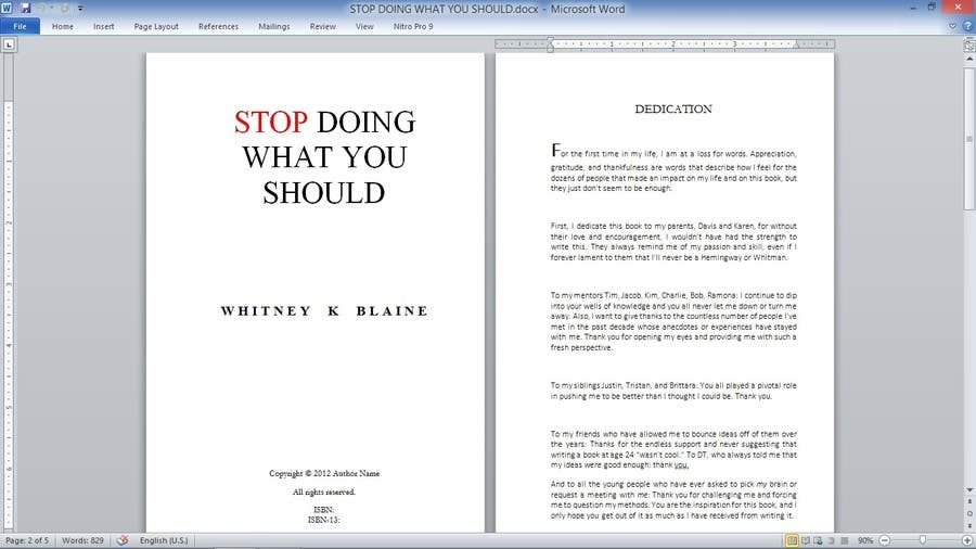 writing a book template word - book interior layout template