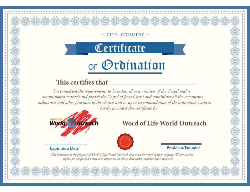 Bài tham dự cuộc thi #32 cho Design a Ordination Cirtifcate