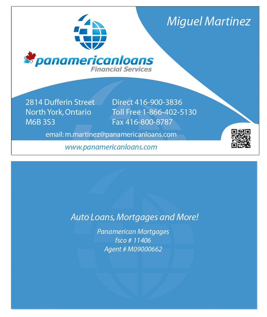 #56 for Design some Business Cards for Panamerican Loans by holecreative