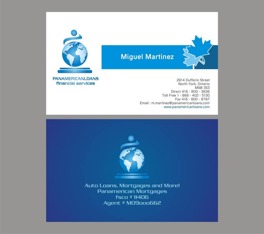 #9 for Design some Business Cards for Panamerican Loans by noelniel99
