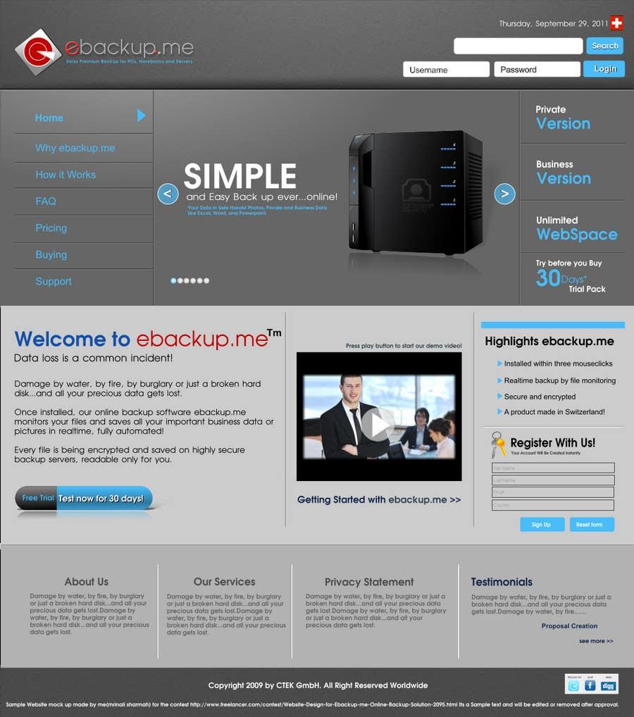 Contest Entry #                                        102                                      for                                         Website Design for Ebackup.me Online Backup Solution