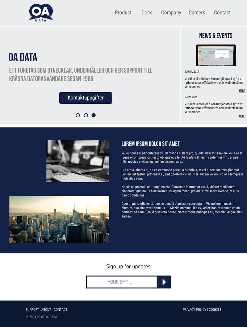 Konkurrenceindlæg #2 for Re-design static HTML webpage for our company