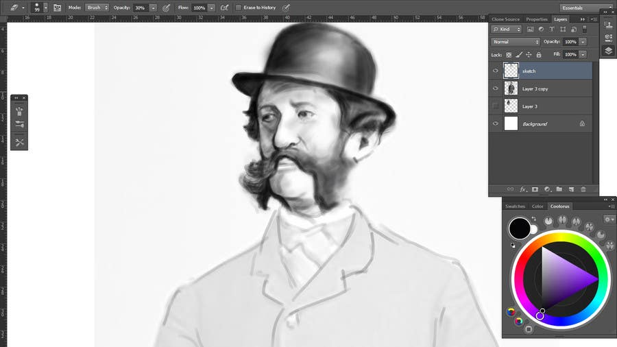 Konkurrenceindlæg #                                        10                                      for                                         Create a Portrait Drawing of a late 19th Century Man wearing Multiple Bowler Hats