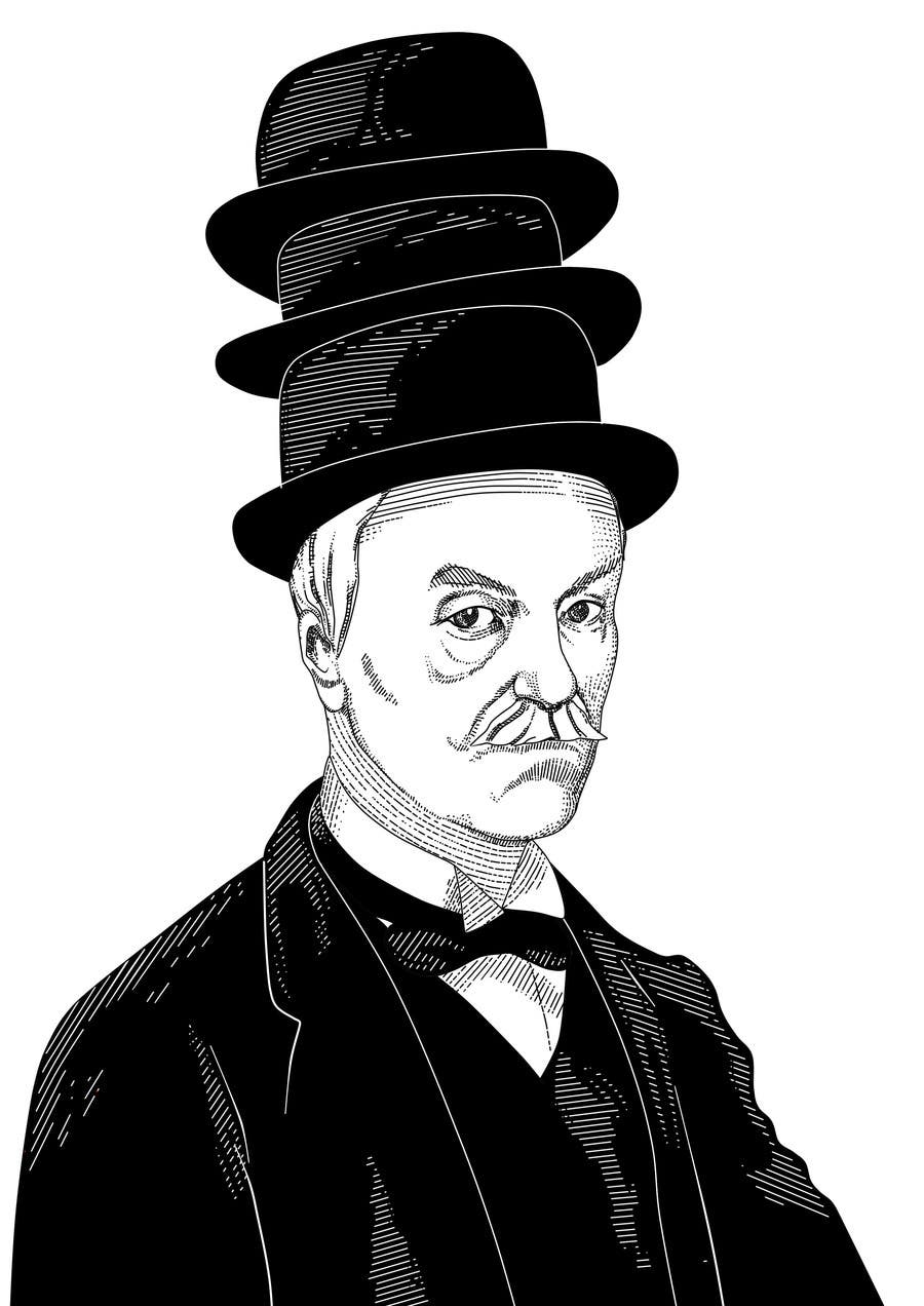 Konkurrenceindlæg #                                        16                                      for                                         Create a Portrait Drawing of a late 19th Century Man wearing Multiple Bowler Hats