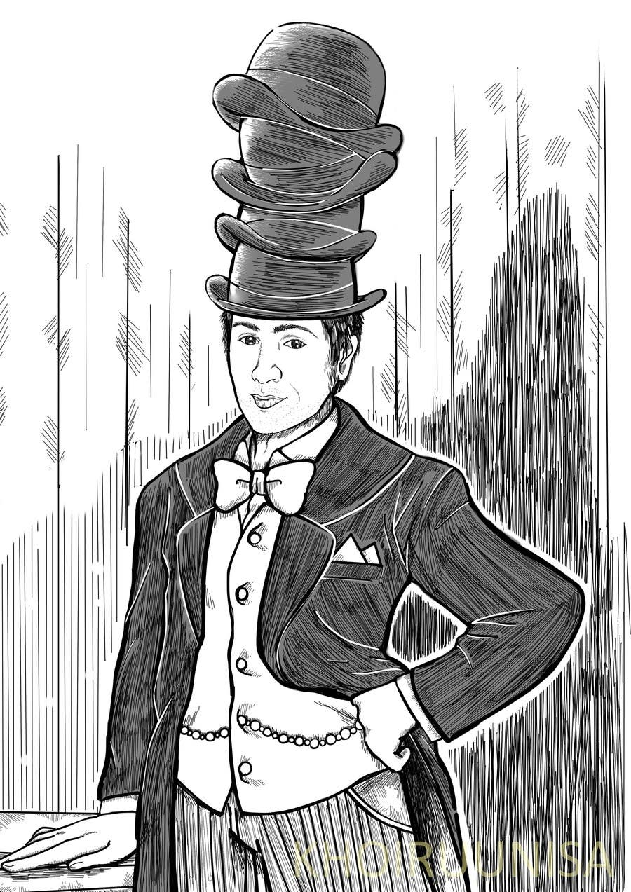 Konkurrenceindlæg #                                        15                                      for                                         Create a Portrait Drawing of a late 19th Century Man wearing Multiple Bowler Hats