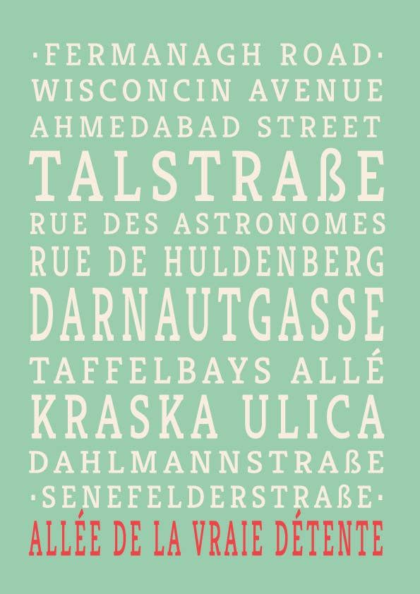 Contest Entry #19 for Clean, simple text based poster for printing: Street names using nice fonts
