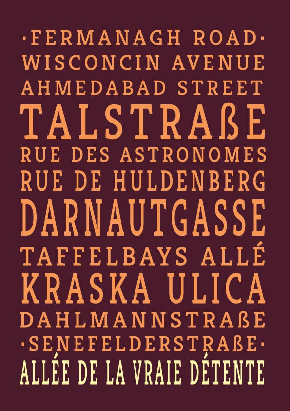 Contest Entry #20 for Clean, simple text based poster for printing: Street names using nice fonts