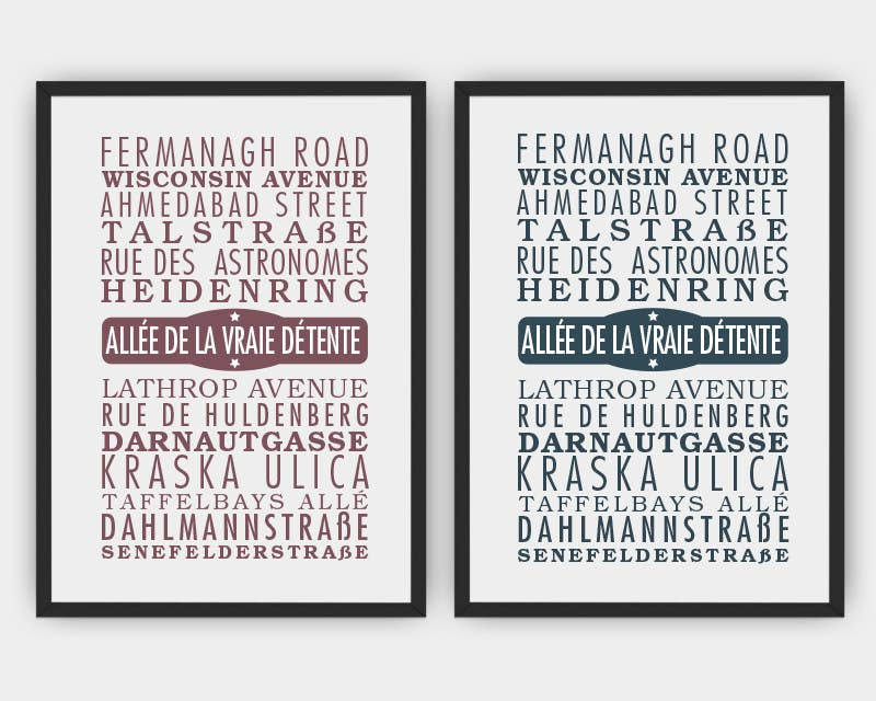 Contest Entry #29 for Clean, simple text based poster for printing: Street names using nice fonts