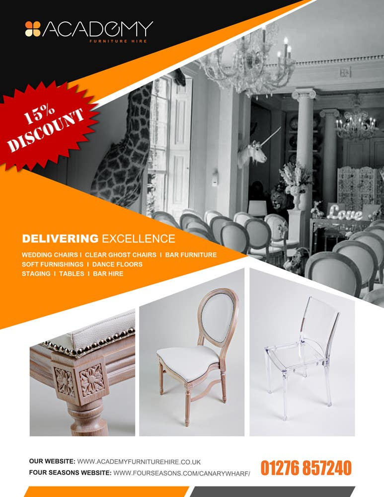"""Konkurrenceindlæg #                                        15                                      for                                         Wedding Show """"Product & Discount Flyer"""" - Academy Furniture Hire"""