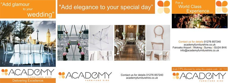 "Konkurrenceindlæg #                                        4                                      for                                         Wedding Show ""Product & Discount Flyer"" - Academy Furniture Hire"