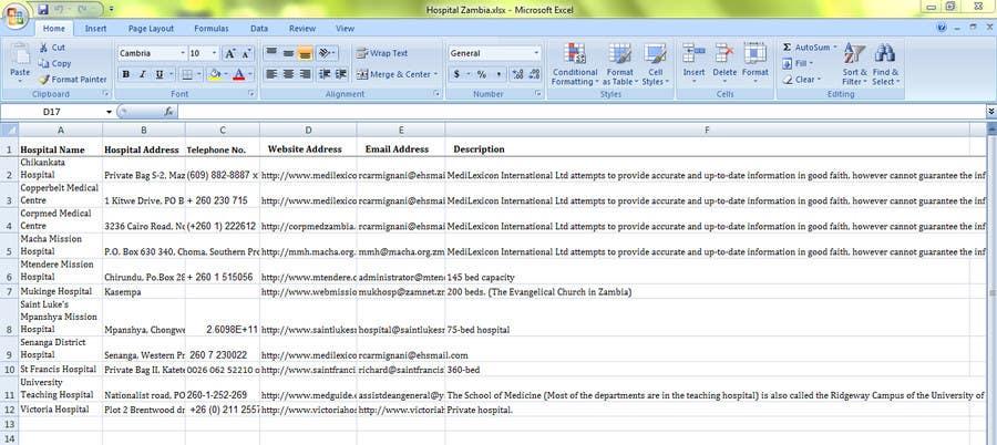 Penyertaan Peraduan #8 untuk Email data scraping, hospital data from website.