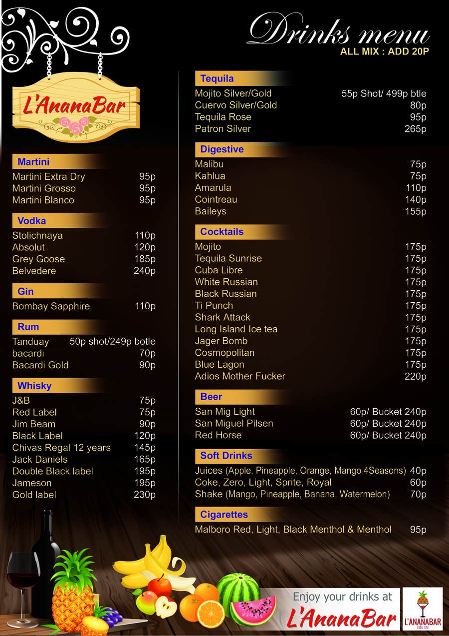 entry #14 by sumantechnosys for design a drink menu for a bar