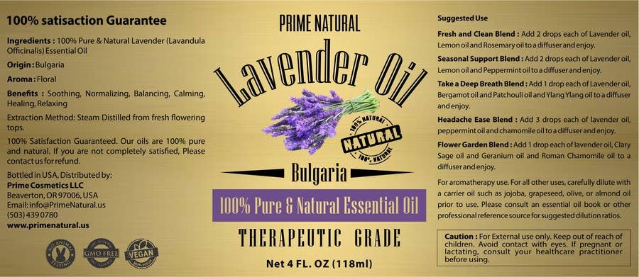 Inscrição nº 69 do Concurso para Design Product Label & refine existing logo: Essential Oil Bottle label