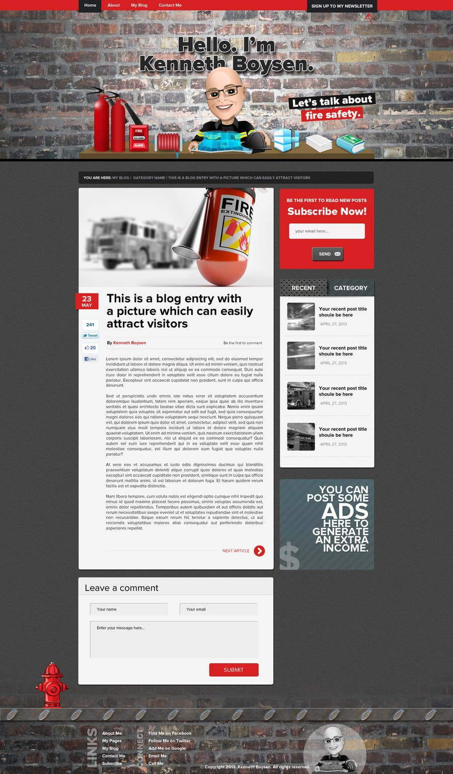 #29 for Personal blog design by firethreedesigns