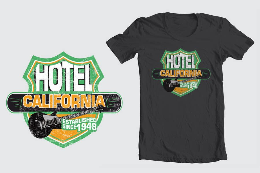 Entri Kontes #                                        97                                      untuk                                        Vintage T-shirt Design for HOTEL CALIFORNIA