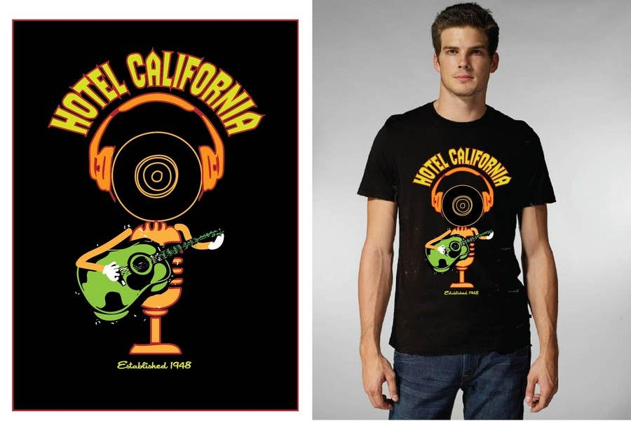 Entri Kontes #                                        88                                      untuk                                        Vintage T-shirt Design for HOTEL CALIFORNIA