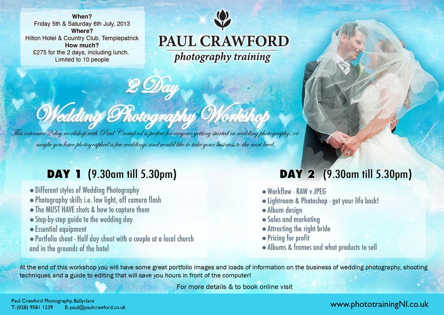 Penyertaan Peraduan #31 untuk Design a Flyer for my wedding photography workshops