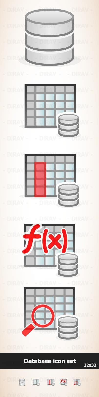 Kilpailutyö #13 kilpailussa Design some Icons for database icon set