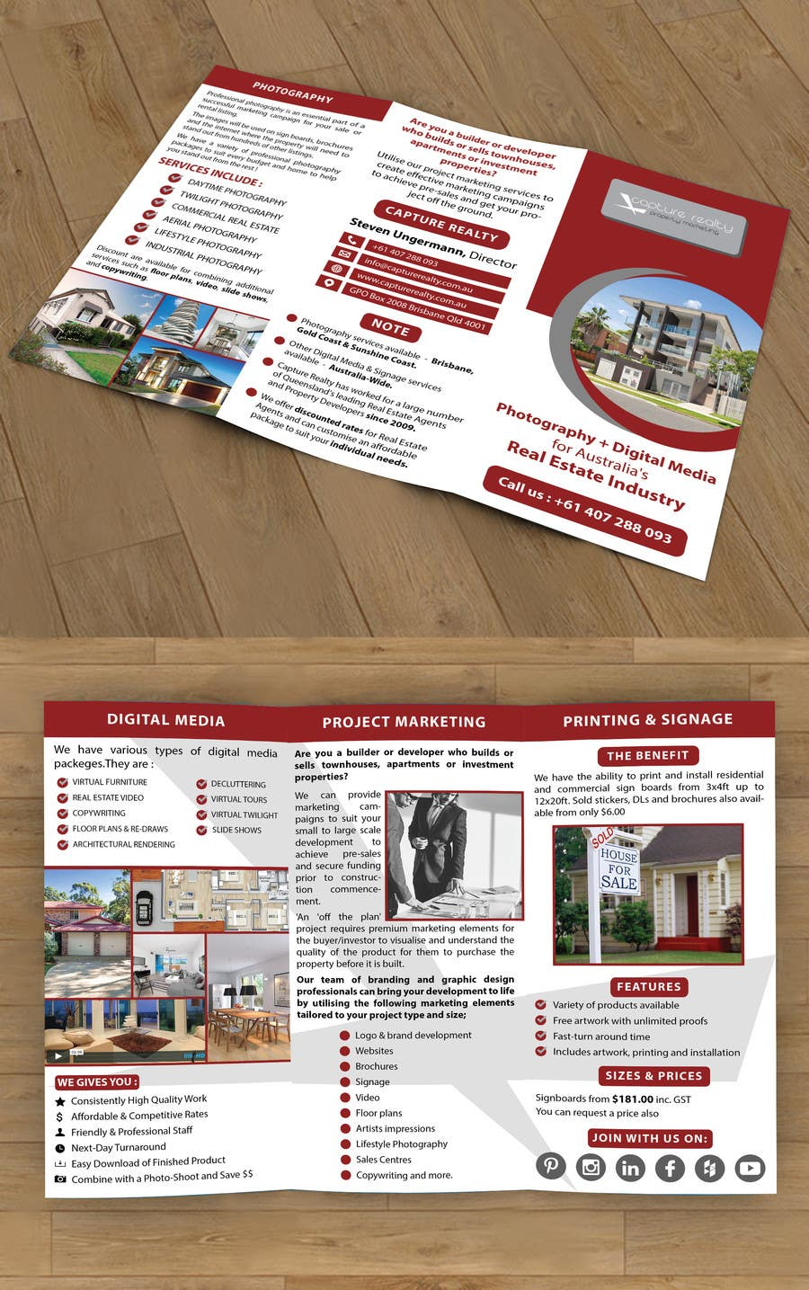 Konkurrenceindlæg #4 for Design a Brochure for a Property Marketing Business using the photos and text from my website.