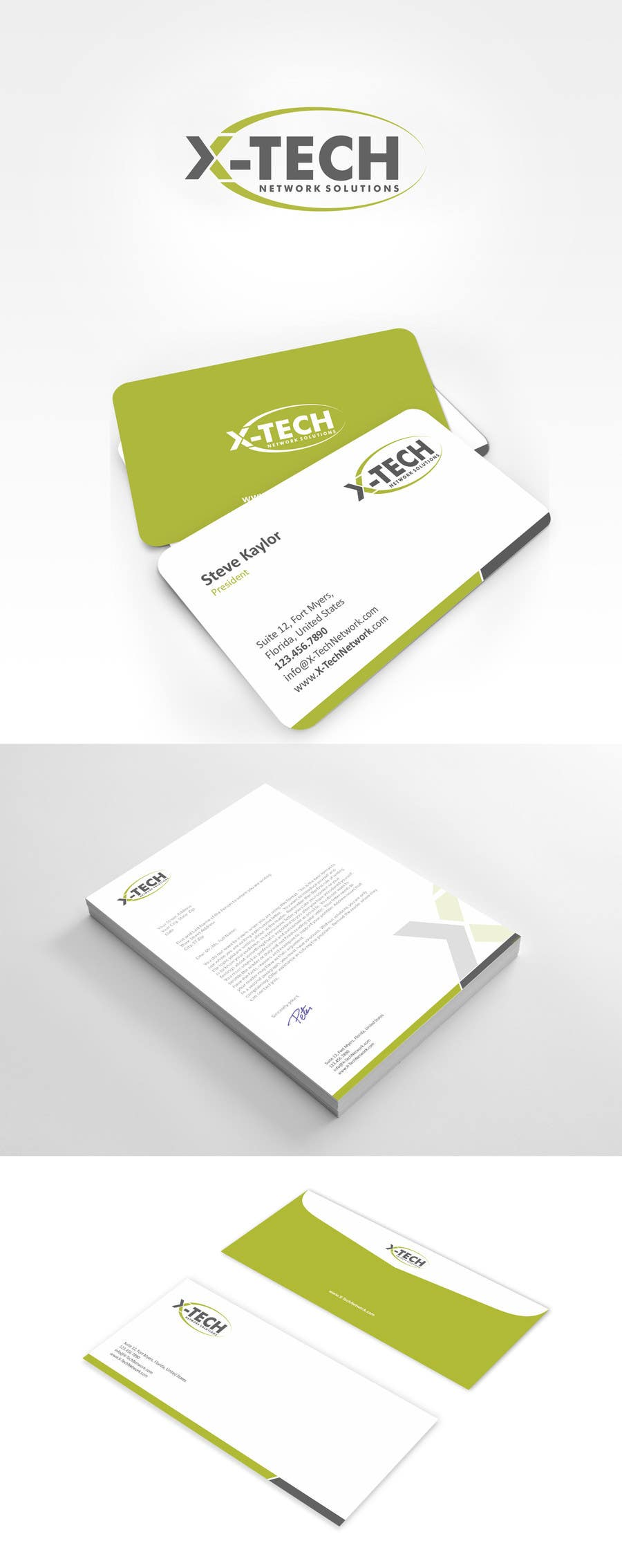 #53 for Develop a Corporate Identity for X-TechNetwork.com (Logo, Business Card & Letterhead) by ezesol