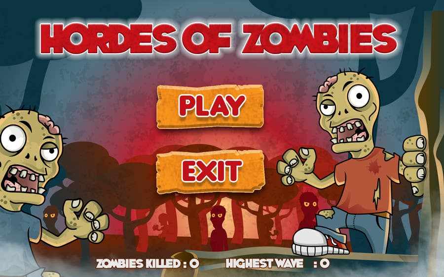 Konkurrenceindlæg #20 for Design & Illustration - 2D Zombie Game Main Screen