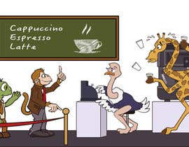 #60 para Cartoon animals queuing in a coffee shop por vicos0207