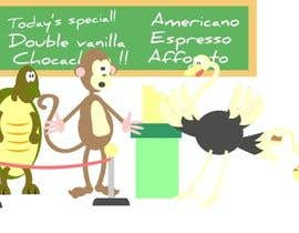 #52 para Cartoon animals queuing in a coffee shop por manikmoon