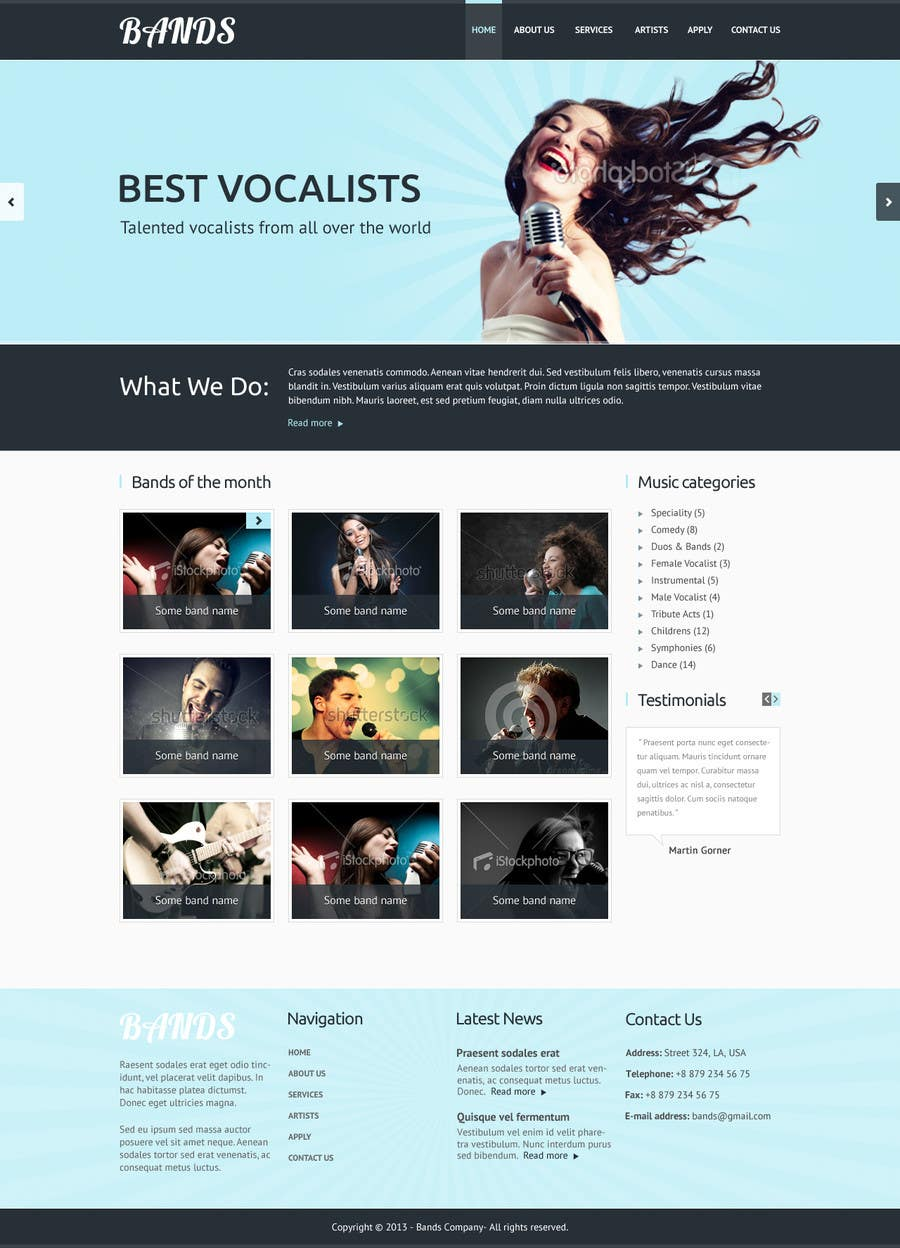 Bài tham dự cuộc thi #25 cho Design a Website for Music Band introduction site