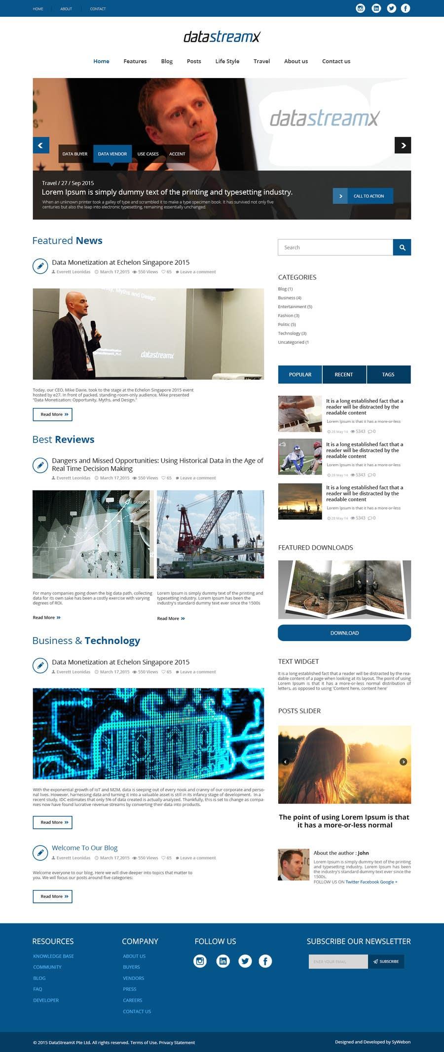Penyertaan Peraduan #18 untuk Design a Website Mockup for Blog & Landing Page Template