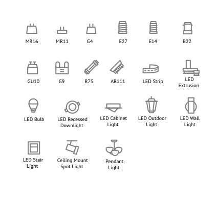 Penyertaan Peraduan #7 untuk Design some Icons for Different Lighting Types