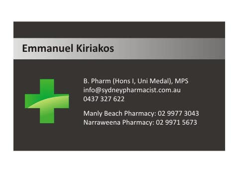 Contest Entry #12 for Business Card Design for retail pharmacist based in Sydney, Australia