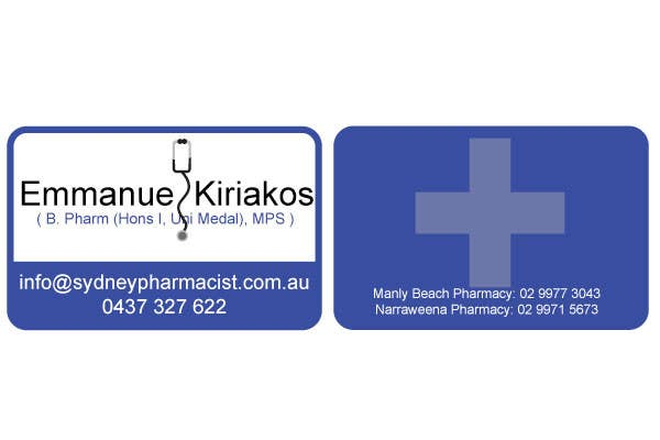 Contest Entry #123 for Business Card Design for retail pharmacist based in Sydney, Australia