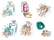 Bài tham dự #2 về Graphic Design cho cuộc thi 5 drawings for a strip depicting the washing of hands for children